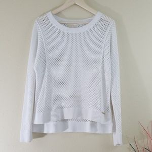 Michael Kors White Open Knit Crewneck Sweater Top